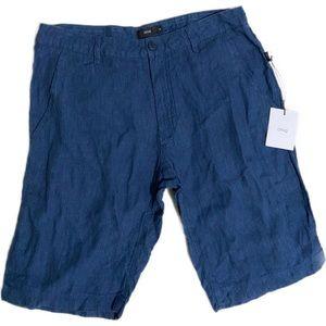 NWT Onia Navy Blue Austin Linen Shorts - Size 30